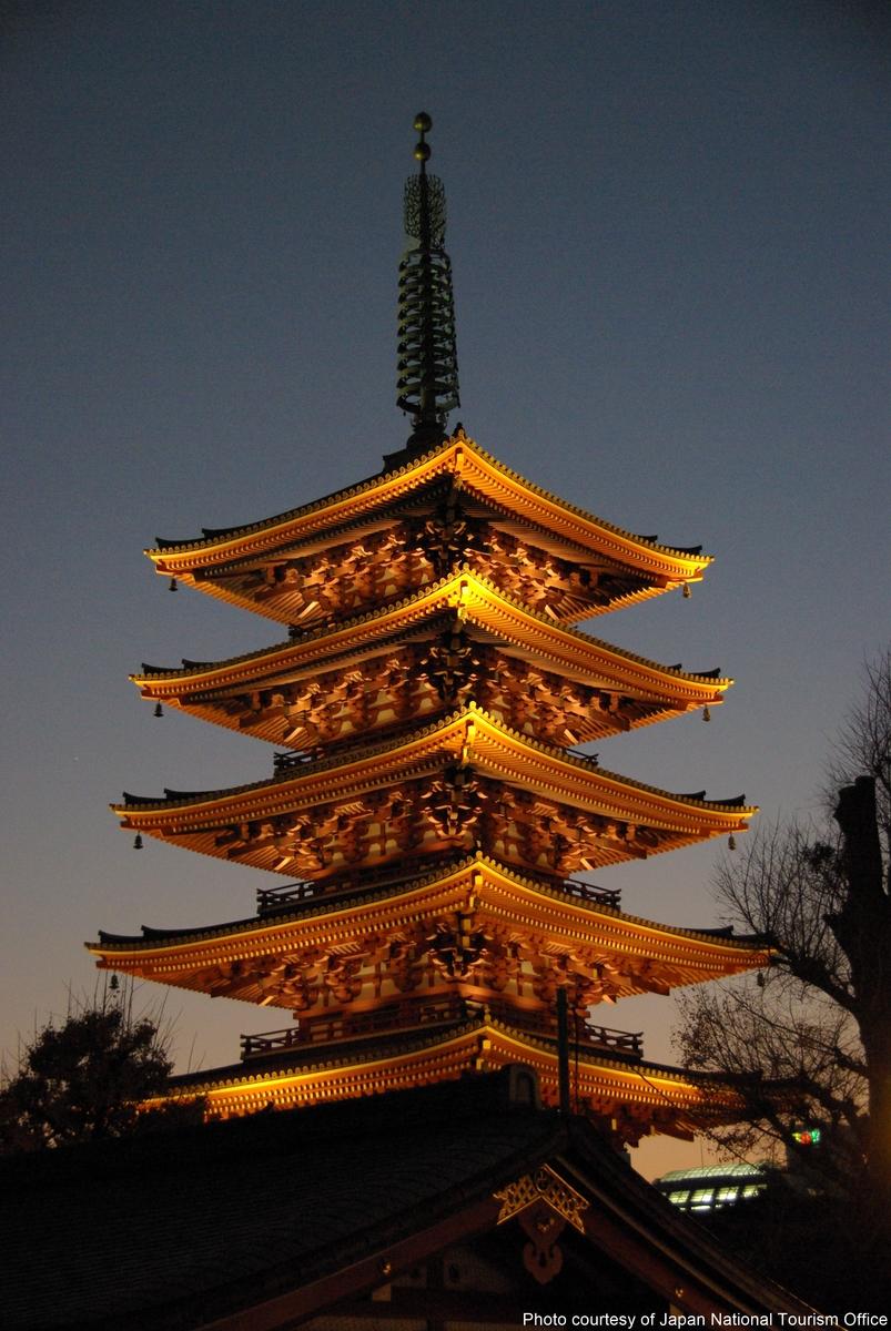 Japan-Five-storied-pagoda-in-Sensoji-temple-Asakusa-Tokyo